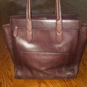Fossil Burgundy leather tote